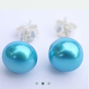 💙8mm Pair Freshwater Pool Blue Pearl Earrings💙